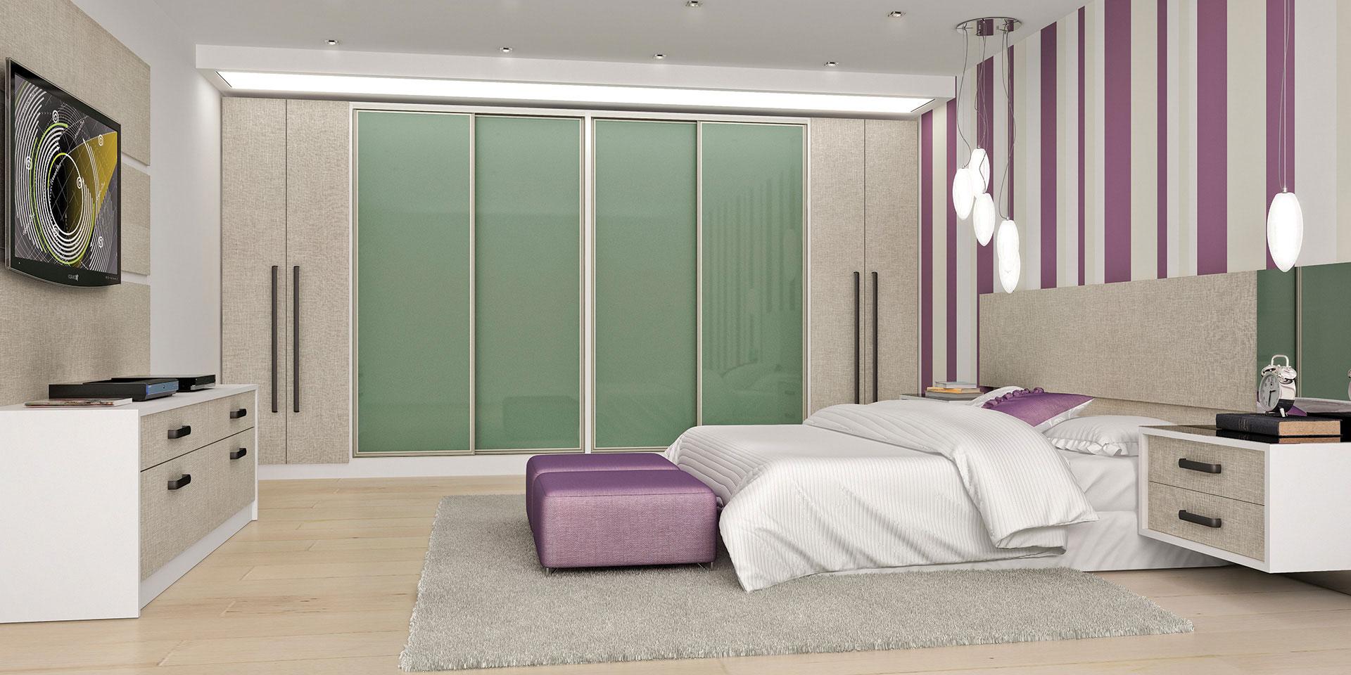 Caixa e tampos Branco com frentes e portas em BP Narita e portas de Correr vidro colorido Bambu